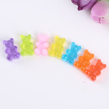 21pcs resin haribo candy bear for  DIY  phone decoration hair craft nail decoration mixed colors