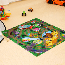 Baby Happy Town Game Mat With Car Toy Bright Cartoon Farm Baby Carpet Floor Crawling Educational Toy For Children Rug Puzzle(China)