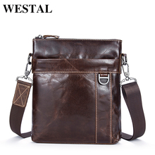 WESTAL Genuine Leather Men Bag Fashion Men's Messenger Bags Male flap cowhide Leather bag shoulder Crossbody bags Handbags 9010(China)
