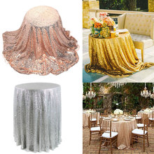 1.8m Sequin Tablecloth Round Festival Gold Champagne Table Cloth Wedding Marriage Party Decoration Table Cover Nappe Tafelkleed(China)