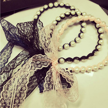 South Korea's new act the role ofing is tasted Pearl lace bowknot ribbon winding hair hoop head hoop hair band(China)