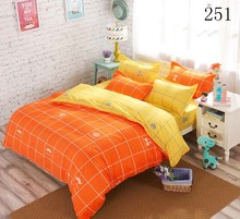 Twin Full Queen Orange Yellow Home Polyester 3/4Pcs Bedding Set Bedclothes Set Duvet Cover Quilt Cover Flat Bed Sheet Pillowcase