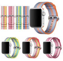 Newest hot selling her woven nylon loop strap For Apple Watch band 38mm 42 women men 13 colors in stock