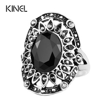 Hot Vintage Black Ring Color Silver Tibet Alloy Jewelry Unusual The Vampire Diaries Fashion Flower Rings For Womens(China)
