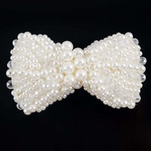 1Pc DIY Handmade Big Pearl Bows With Beads Headband Hoop For Girls Party Hair Accessories