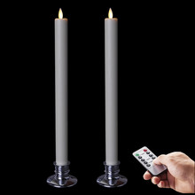 Flameless Taper Candles Battery Operated LED Moving Wick Electric Unscented Candles with Remote Cycling 24 Hour Set of 2(China)