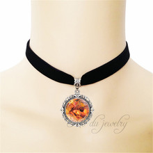 Creative Girl Glass Choker Statement Necklace The Dream In The Book World Charm Black Ribbon Pendant Gorgeous Angel Love Jewelry(China)