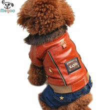 Autumn Winter PU Leather Dog Coats And Jeans Luxury Small Dog Jumpsuit Clothes XS-XL