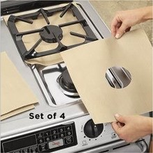 4Pcs/Lot Reusable Foil Gas Hob Range Stovetop Burner Protector Liner Cover For Cleaning Kitchen Tools VBU60 P15(China)