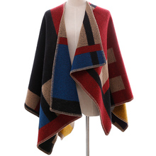 Brand Celebrity autumn wool Oversized sweater poncho winter cashmere plaid Knit cardigans women fashion cape cloak poncho Shawl