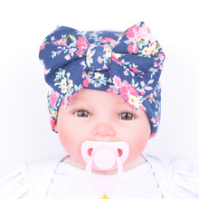 Newborn Hospital Hat Baby Flower Bowknot Flower Beanies Cotton Floral Headband Infant Girl Hair Accessories(China)