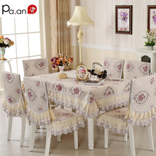 Europe Polyester Tablecloth 130x180cm Floral Embroidery Crocheted Table Clothes Chair Cover Home Wedding Decoration(China)