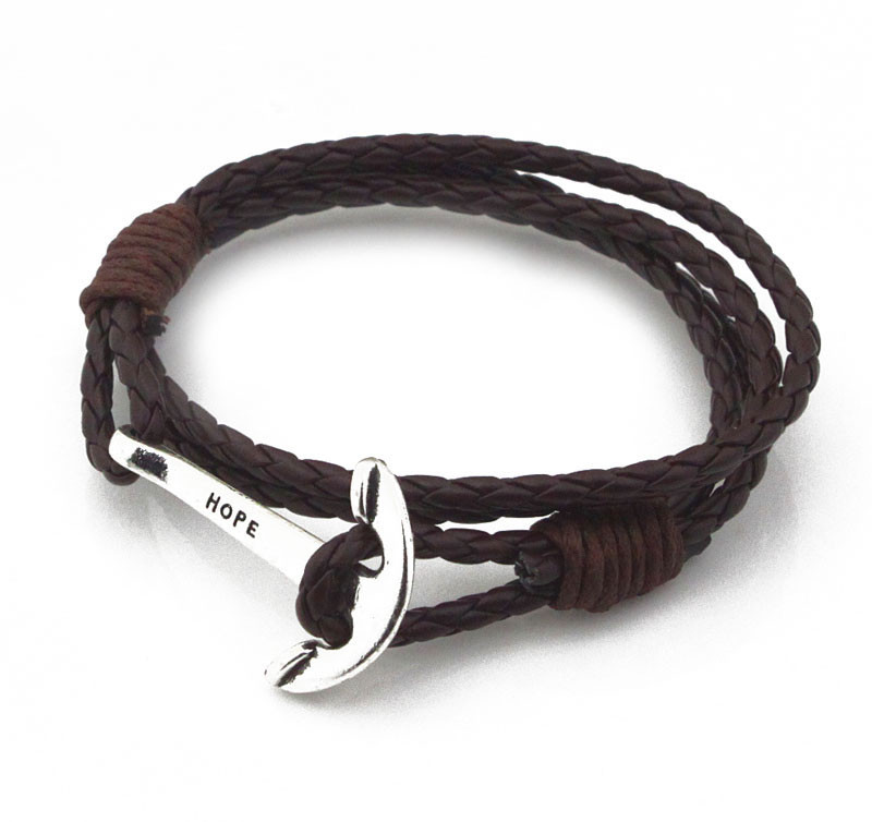 Mens Leather Bracelets Wristband Jewelry 40cm Length Brown PU Rope Silver Anchor Man Charm Braclet Accessories (4)