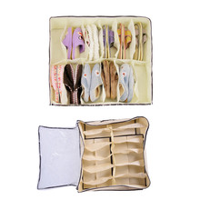 12 Compartments Shoes Transparent Shoe Box Non-woven Moisture-proof Storage Shoebox Containing Box Household Storage Compartment