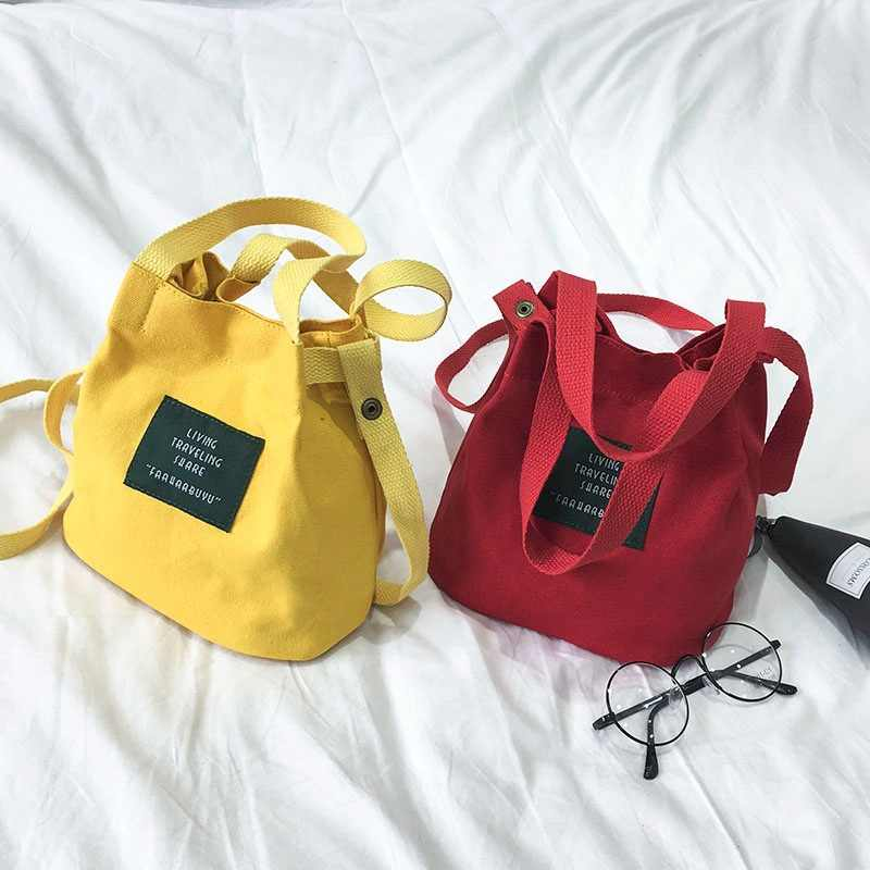 8bbfd4091445 Japanese literary simplicity Woman mini Street canvas bags Vintage letter  Solid color Harajuku Shoulder bag Little