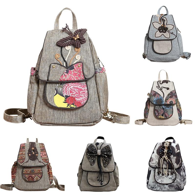Coofit National Style Women Backpack 3D Butterfly Beaded Pattern Handmade Backpacks Travel Female Bagpack Girls Teens School Bag<br>