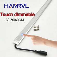 1pcs 50cm Kitchen led under light DC12V 36 SMD 5050 LED Hard Rigid LED Strip Bar Light with touch switch dimmable control(China)