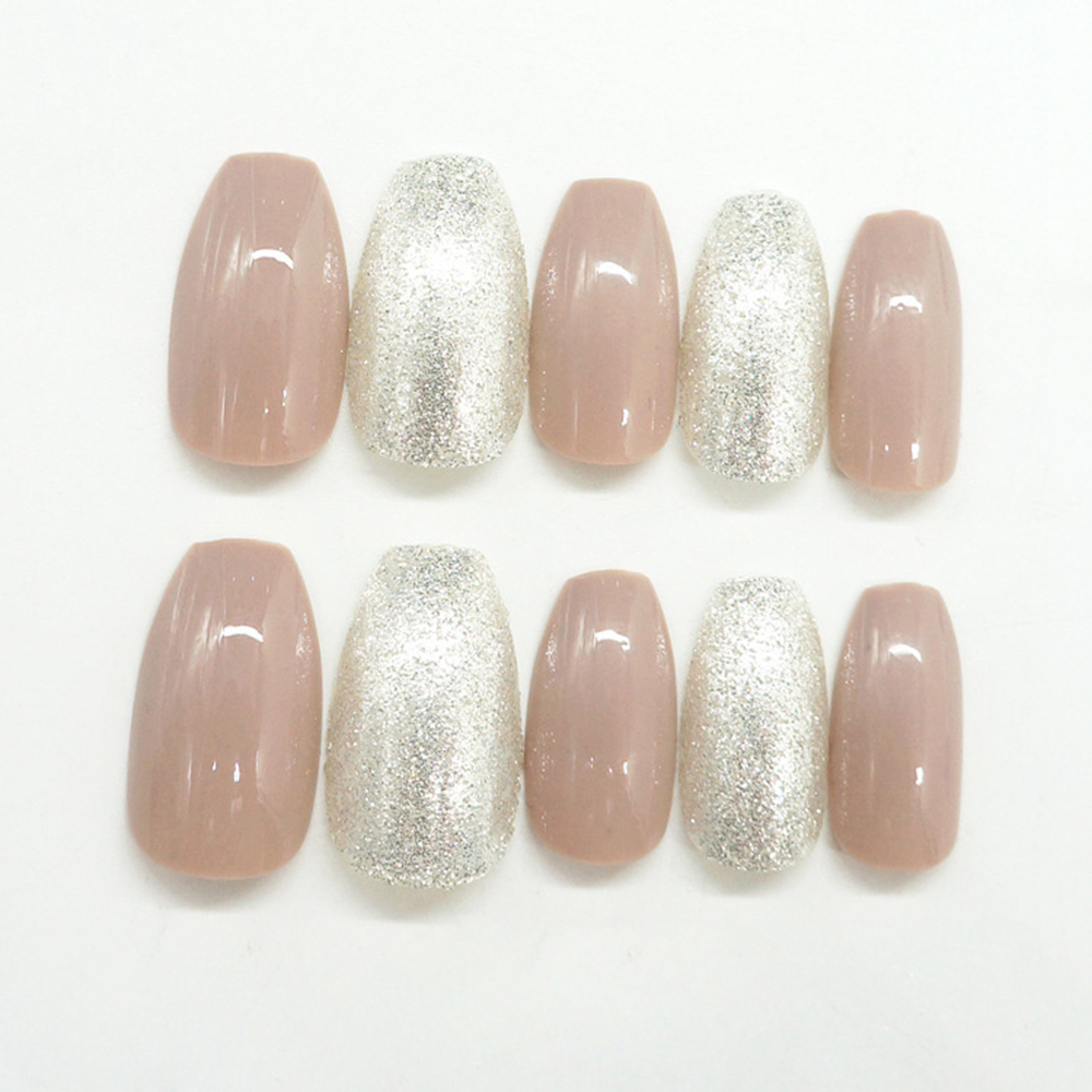 kit UV Glitter Artificial Fake Nails Flat Top Coffin Design Long Pre ...