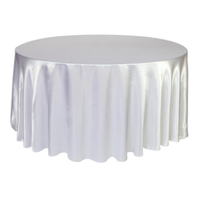 FR Stock 10pcs 305CM luxury Satin round Tablecloth Table Cloth Cover Wedding Banqueting Home Overlay Oilproof dustproof white(China)
