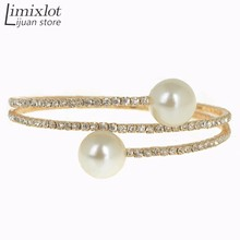 2017 Hot Sale 2 Row Elegant Rhinestone Crystal Round Simulated Pearl Stretch Bangle Bracelet Jewelry Wholesale