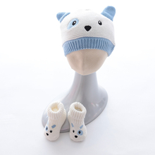 autumn Winter baby knitted Hats+Shoes 2 Piece Set Organic Cotton Hat Warm Boots with cartoon cat dog desigh for 0-2 age kids(China)