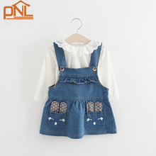 2017 New Spring Baby girls clothes bib Overalls Tshirt+Denim suspenders dress Infant Clothes cartoon toddler clothing