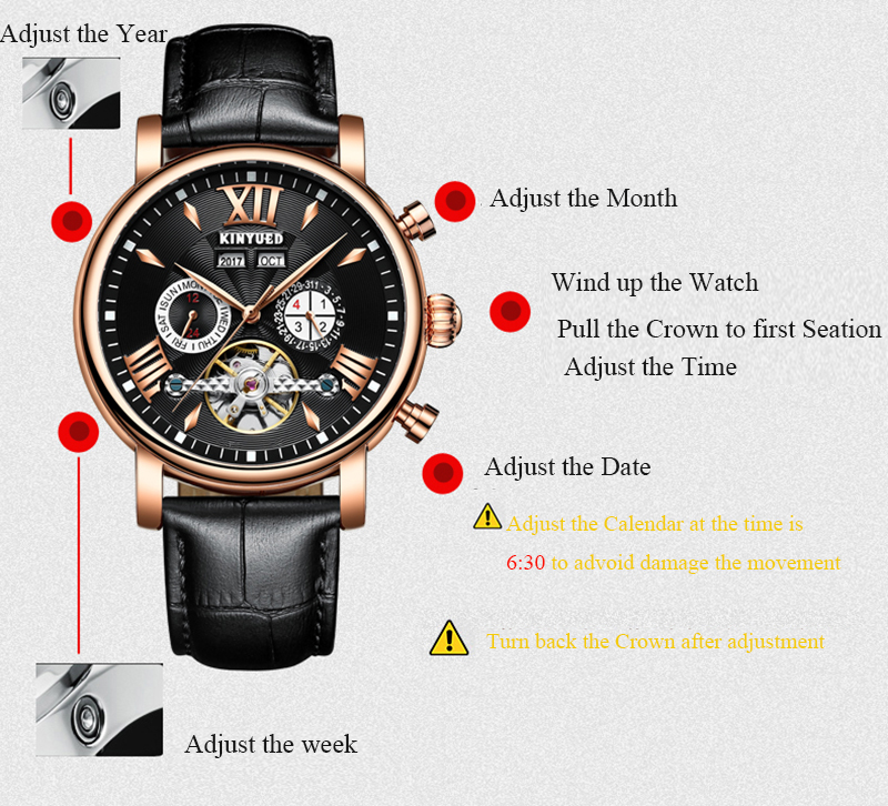 KINYUED Flying Tourbillon Watch Skeleton Men Leather Waterpoof Business Calendar Mens Mechanical Watches Automatic montre homme 7