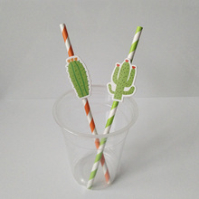 Orange and green Striped cactus pattern Sticker Paper Straws For wedding Party Festive Supplies Decoration Paper Drinking Straw(China)