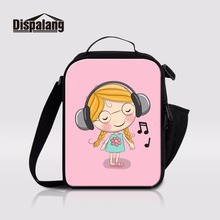 Dispalang Musical Girl Thermal Cooler Picnic Bag Lunchbox For Children Lancheira Thermo Lunch Bag Multi-function Meal Package
