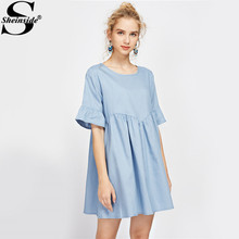 Sheinside Bell Cuff Blue Babydoll Smock Dress Casual Cute Women Shift Tunic Summer Dresses 2017 Ruffle Draped Keyhole Mini Dress