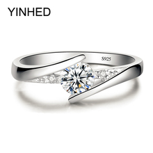 Sent Certificate of Silver! YINHED 100% Pure 925 Sterling Silver Ring Set Luxury 0.5 ct CZ Diamant Wedding Rings for Women ZR327(China)