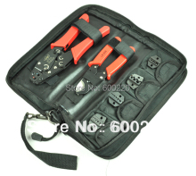 coax crimping tool kit crimp piers set HS-K0725 with cable cutter & 4 replaceable die sets