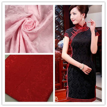 Fabric METER Hanfu Red/Pink/White/Black Silk FOR DRESS SEWING ACCESSORIES Cotton Cloth Cheongsam