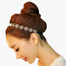 1pcsWomens Fashion Headband For Hair Accessories Jewelry Metal Chain Jewelry Hollow Rose Flower Elastic Hair Styling Tools(China)