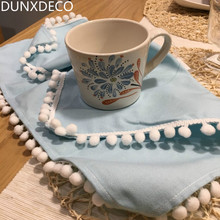 DUNXDECO 1PC 40x40cm French Style Fresh Lemon Blue Little Ball Fringe Cotton Table Placemat Linen Decorative Napkin Photo Prop