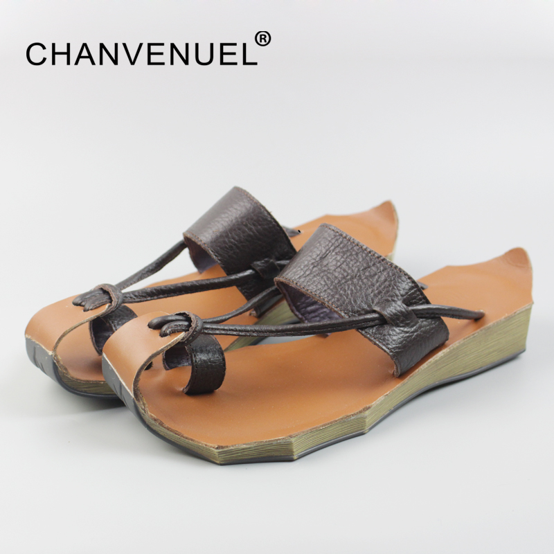 Summer Genuine Leather Womens Sandals Closed Toe Flip Flops For Women Women Beach Casual Slippers Top Quality Ladies Shoe Slipp<br>