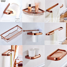 Free shipping Biggers Luxury rose gold copper bathroom accessories set paper holder towel bar soap dish tumbler holder