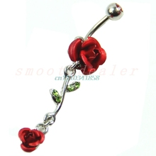 Wholesale 10pcs/lot Red Rose Double Flowers Belly Ring Dangle Belly Dance Nailing Piercing Jewelry 5MM #Y51#
