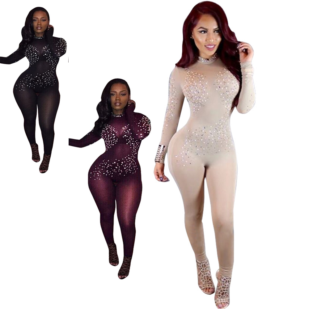 Sexy See Through Jumpsuit Club Bandage Women Black Mesh Jumpsuits Long Sleeve Party Bodysuit High Cut Bodysuit Sequined Bodycon