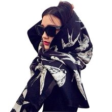 2016 Winter Faux Cashmere Scarf Luxury Brand Women Swallow Bird Scarf Scarves and Shawls Echarpes Foulards Cachecol Wholesale