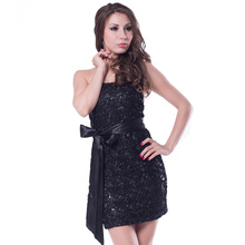 J7880 Good quality recommended sexy dresses 2016 new arrival low cup sparkle sdress to party black color dress women(China)