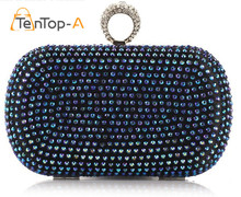 TenTop-A Fashion Women's Bronzing Colorful Acrylic Finger Ring Diamond Evening Bags Clutch Bags Shoulder Chain Women's Handbags