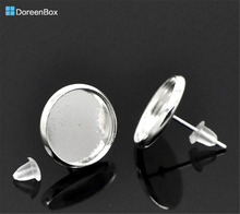 Doreen Box Lovely 25 Pairs Silver color Round Cabochon Settings Earring Post 14x14mm(Fit 12mm Dia.) (B20751)(China)
