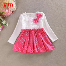 Cheap Stuff Spring Long Sleeve Dress Baby Girl Cutw Bow Lace Dresses Patchwork Kids Casual Dress Girls Clothes KD585