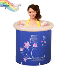 Sale 1 piece Inflatable Bath Tub Adults Thickening Folding Tub Bath Bucket Plastic Spa Inflatable Bath Tub TRQ515(China)