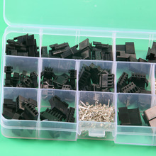 SM2.54 Kits 40 sets Kit 2p 3p 4p 5p 6p Pitch Female and Male Header electrical terminals with box 2.54mm cabel connector(China)