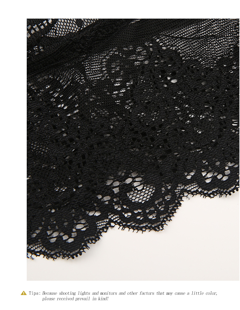 HDY Haoduoyi Women Vintage Black Floral Lace Bralette Wireless Bras Lingerie Push Up Bustier Crop Tops Cami Triangle Bras Sexy 9
