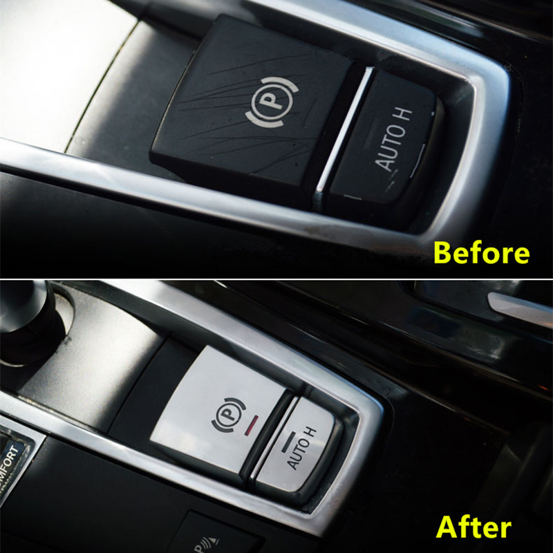 2 pcs Chrome Central Handbrake Auto H Button Decorative Cover Trim For BMW 567 Series X3X4X5X6 Car Styling (9)