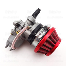 Carburetor Carb Carby + Steel 44mm Air Filter Red + Stack for 47cc 49cc Mini Moto Dirt Pocket Bike ATV Quad Go Kart Minimoto(China)