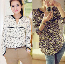 PEILING DRAGON korean style shirts full sleeve leopard print shirt and star print shirt girls spring and autumn shirts(China)